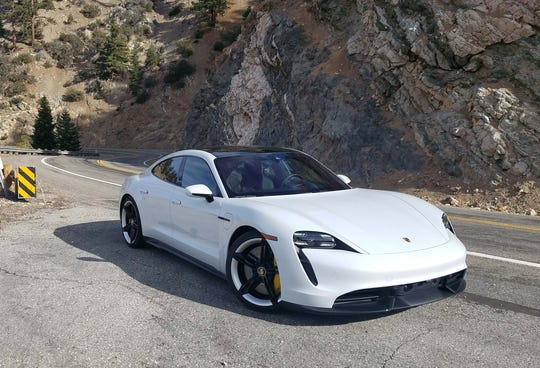 The Porsche Taycan Turbo S carved up Angeles Crest road north of Los Angeles.