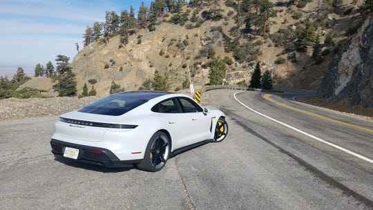 Despite weighing 5,100 pounds, the 750-horsepower Porsche Taycan Turbo S gobbled up twisty roads with its low center of gravity and instant torque.