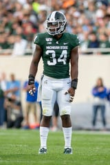 Linebacker Antjuan Simmons  leads the Michigan State defense with 72 tackles.