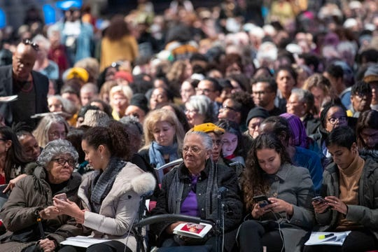 Mourners congregate before the start of the Celebration of the Life of Toni Morrison at the Cathedral of St. John the Divine in New York.