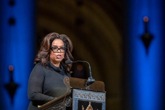 Oprah Winfrey speaks during the Celebration of the Life of Toni Morrison, Thursday, Nov. 21, 2019, at the Cathedral of St. John the Divine in New York.