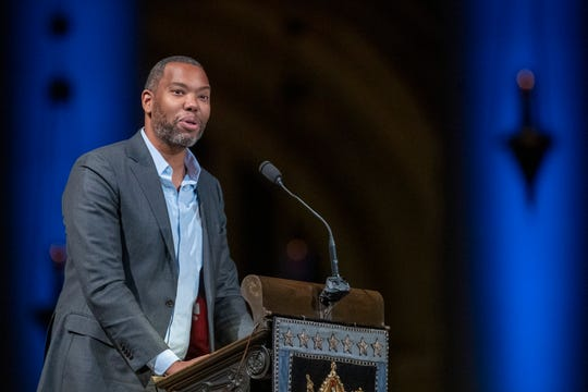 Author Ta-Nehisi Coates speaks during the Celebration of the Life of Toni Morrison.