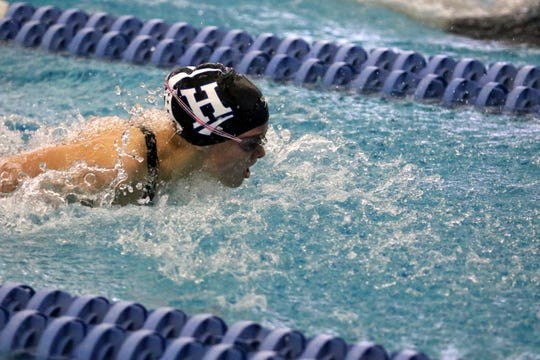 Sophia Verkleeren of Horseheads swims the butterfly on her way to a Section 4 record of 2:03.79 in the 200-yard individual medley during prelims at the New York State Girls Swimming and Diving Championships on Nov. 22, 2019 at Ithaca College.