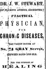 An advertisement for Dr. Stewart in the Elmira Daily Advertiser, Dec. 23, 1864.