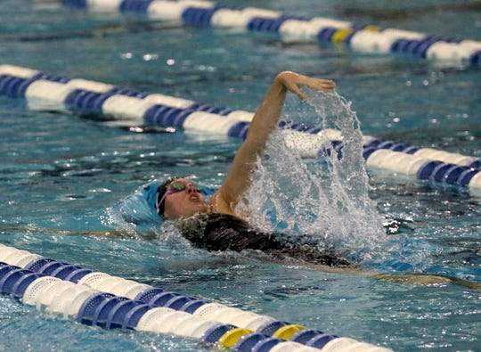 Sophia Verkleeren of Horseheads swims the backstroke on her way to a Section 4 record of 2:03.79 in the 200-yard individual medley during prelims at the New York State Girls Swimming and Diving Championships on Nov. 22, 2019 at Ithaca College.