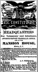 An ad for Union volunteers in the Elmira Daily Advertiser on Dec. 21, 1864.