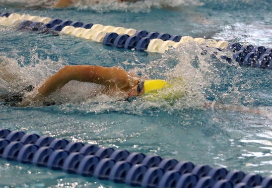 Grace Kadlecik of Lansing swims in the 100-yard freestyle during prelims at the New York State Girls Swimming and Diving Championships on Nov. 22, 2019 at Ithaca College.