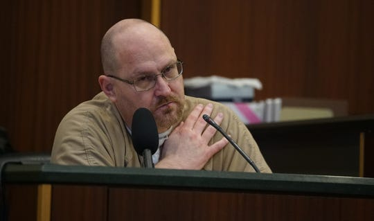 Curtis Wayne Wright Jr. testifies during Mark Sievers trial, who is charged with first-degree murder and conspiracy to commit murder for the death of his wife Teresa Sievers.