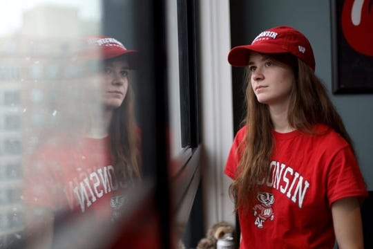 Lena Stojiljkovic, a University of Wisconsin-Madison student, is seen in her friend's apartment in Madison, Wis., April 10, 2019. In the fall of 2016, she was hospitalized for a psychotic break and diagnosed with bipolar I disorder. She says she was delusional, psychotic and had no grasp on reality. Stojiljkovic said she believes smoking marijuana helped trigger the psychosis.