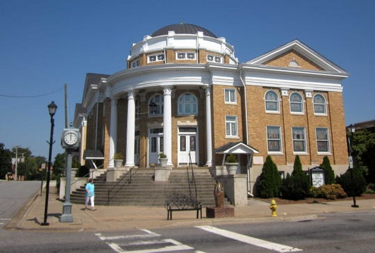 The First United Methodist Church, two blocks from the courthouse, is sited where Vardry McBee's home once stood. Begun in 1919, it has been twice expanded.