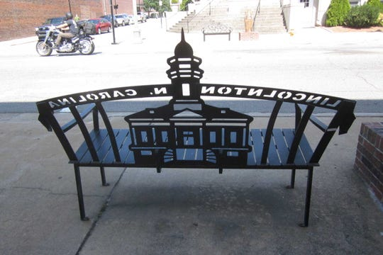 Convenient and clever benches punctuate downtown Lincolnton's main shopping street.