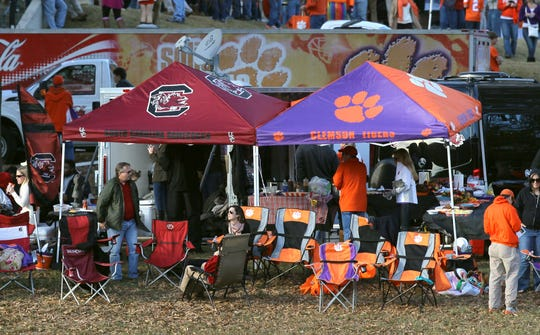 South Carolina and Clemson fans tailgate