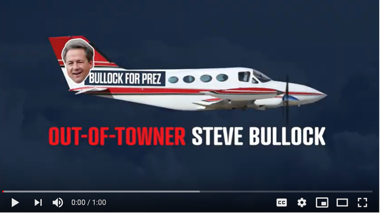 The Senate Leadership Fund ad portrays Gov. Steve Bullock as an out of towner as he campaigns for president in 2020.