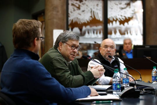 Attorney General William Barr speaks at the Nov. 22 Confederated Salish and Kootenai Tribes council meeting on the Flathead Reservation in Pablo.