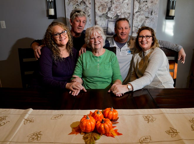 Judy Kirkpatrick sits with her children whom she raised in Great Falls, they are from left to right: Michelle, Mark, Mike, Mark and Mary Awnie.  At age 15 while living in Oklahoma, Judy became pregnant and after giving birth to her son, Barry Wilmoth, she gave him up for adoption.  After 64 years of waiting she will meet Barry for the first time over the Thanksgiving holiday.
