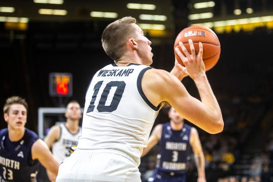 Iowa forward Joe Wieskamp launches one of his 12 shots against North Florida on Friday. Wieskamp scored 14 points in an 83-68 victory.