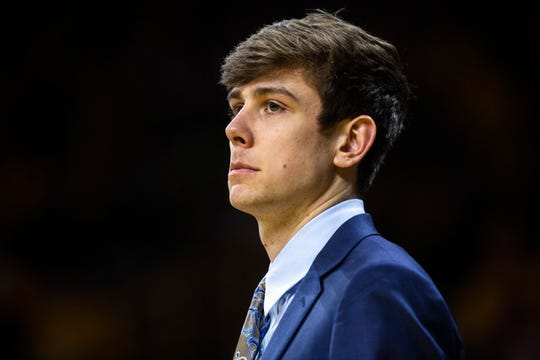 Iowa forward Patrick McCaffery looks on from the bench during a NCAA non-conference men's basketball game, Thursday, Nov. 21, 2019, at Carver-Hawkeye Arena in Iowa City, Iowa.