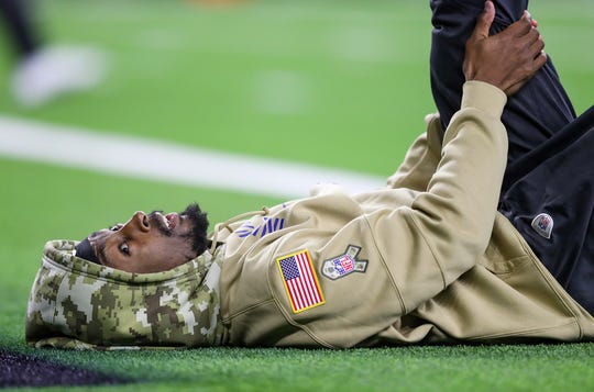 Indianapolis Colts wide receiver T.Y. Hilton (13) warms up before the game against the Houston Texans at NRG Stadium in Houston, Texas on Thursday, Nov. 21, 2019.