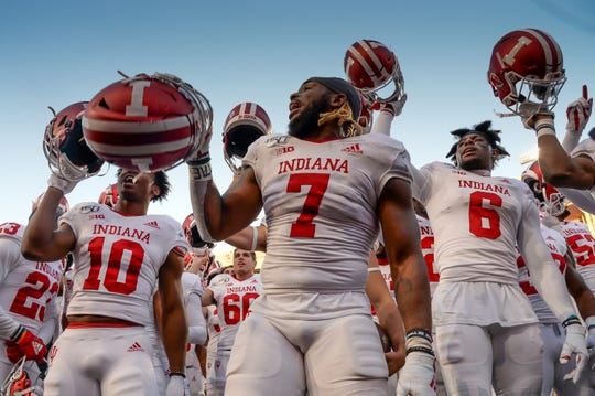 Indiana LB Reakwon Jones (7) leads the team in the fight song after the win against Nebraska at Memorial Stadium on October 26, 2019 in Lincoln, Nebraska.