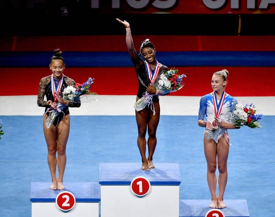 Simone Biles, center, was overall gold medalist in August at the 2019 U.S. Gymnastics Championships in Kansas City, Missouri. Also pictured are, left, silver medalist Sunisa Lee and bronze medalist Grace McCallum.
