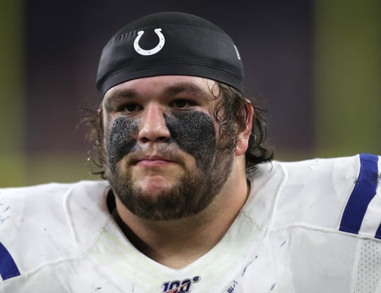 Indianapolis Colts offensive guard Quenton Nelson (56), with his face makeup smearing from sweat, during the third quarter of the game against the Houston Texans at NRG Stadium in Houston, Texas on Thursday, Nov. 21, 2019. The Colts lost, 17-20.