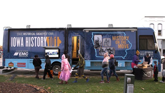 """The State Historical Society of Iowa's """"Iowa History 101"""" touring exhibition in Osceola County. In November of 2019, the exhibition finished its tour of the 99 Iowa counties. Another tour will begin in Spring 2020."""