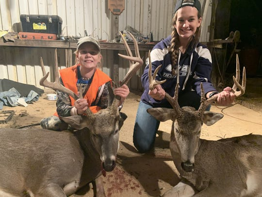 Hayden Cannada (left) and sister Haley Cannada bagged big bucks within minutes of each other on an afternoon hunt this week.