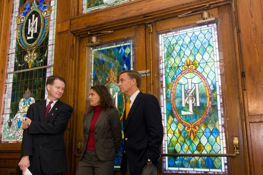 In October 2010, Knox County Mayor Tim Burchett, left, school board member Indya Kincannon and Knoxville Mayor Bill Haslam listen to Dr. Jim McIntyre announce plans to turn the historic L&N Station into a high school that focuses on science, technology, engineering and mathematics.
