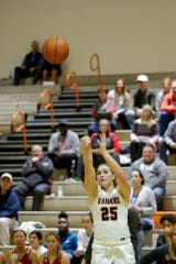 Harrison's Emma Henderson (25) goes up for three during the first quarter of game seven in the 2019 Girls Hoops Classic, Thursday, Nov. 21, 2019 in West Lafayette.