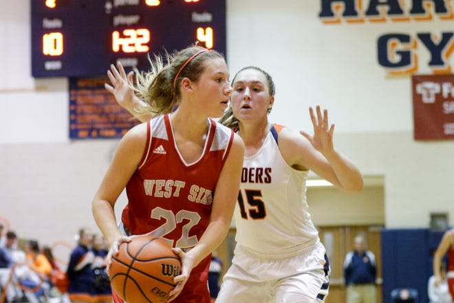 Harrison's Anna Henderson (15) guards West Lafayette's Kennedy Martin (22) during the second quarter of game seven in the 2019 Girls Hoops Classic, Thursday, Nov. 21, 2019 in West Lafayette.