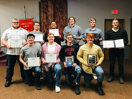 The Lancaster football team held their annual awards banquet recently. Receiving special awards were, front row, left to right: Casey Finck, Owen Snyder, Max Hamilton and Sage Hill. Second row, L-R: Dalton Golden, Cole Smith, Devon Pearson, Drew solt and Carson Rainier.