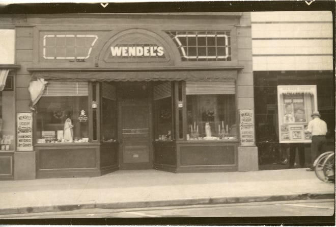 The front of Wendel's Jewelry Store as it appeared in 1939. At that time it was located at 129 S. Broad in the Martens Hotel block. They had just redecorated the interior.