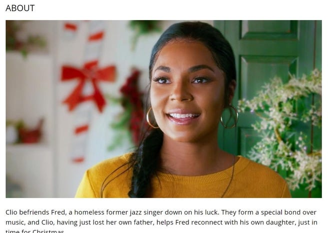"""A screenshot taken of Lifetime channel's website for """"A Christmas Winter Song"""" shows actress and singer Ashanti playing the lead role of Clio. City of Brighton will host an advanced screen Thursday before it airs on TV."""