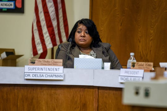 Acting interim superintendent Dr. Delsa Chapman listens during a Lansing School District Board of Education meeting on Thursday, Nov. 21, 2019, at the Shirley M. Rodgers Administration Building in Lansing. The meeting was the first after acting Superintendent Mark Coscarella was placed on paid administrative leave leave while officials investigate a sexual harassment claim made against him.