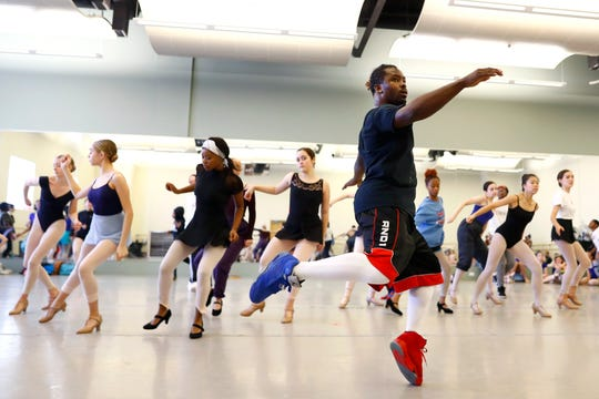 Travis Butler rehearses with the New Ballet Ensemble as they prepare for their performance of 'Nut Remix', a take on the traditional holiday Nutcracker, from their Cooper Young studio on Saturday, Nov. 9, 2019.