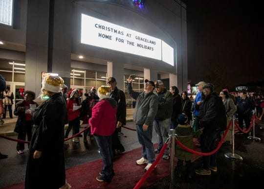 "Elvis fans head to the ""world premiere"" screening of Hallmark Channel's ""Christmas at Graceland: Home for the Holidays"" at Graceland on Thursday, Nov. 21, 2019."