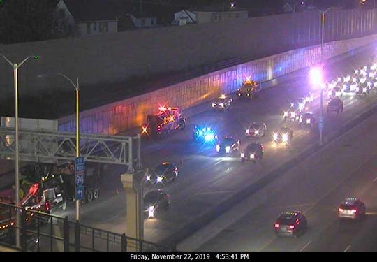 The right three lanes of I-94 westbound are blocked at 76th Street, causing delays and backups.