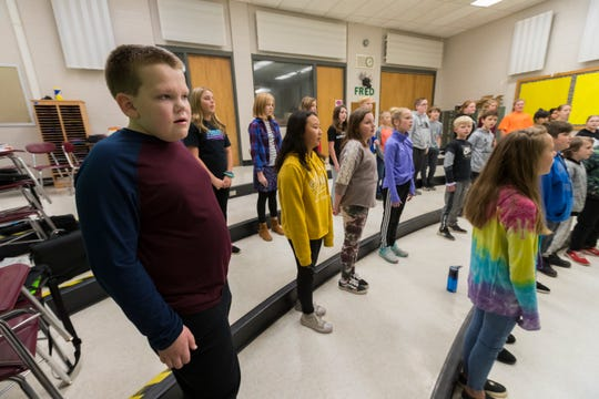 Jack Anderson, 11, sings in his choir class at Perry Tipler Middle School in Oshkosh.