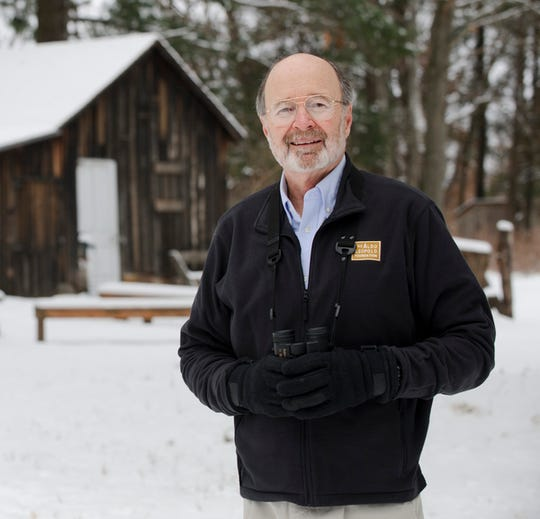 Stanley Temple, University of Wisconsin-Madison emeritus professor of forest and wildlife ecology and senior fellow at the Aldo Leopold Foundation, poses for a photo at the Aldo Leopold Shack in Baraboo.