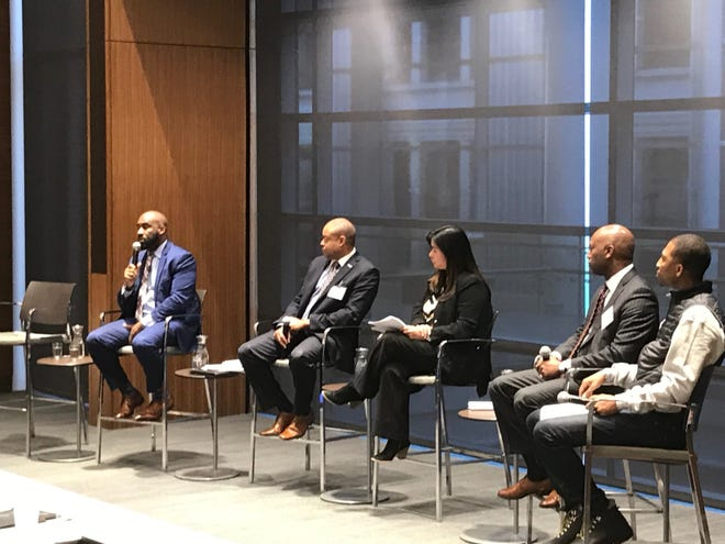 Kalan Haywood Sr., far left, speaks Friday during the 2020 Democratic National Convention host committee Ensuring Economic Equity summit at Northwestern Mutual.