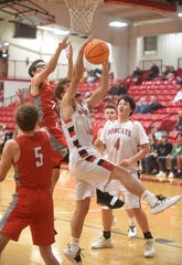 Flippin's Allen Campbell rebounds during Monday action against Lead Hill at the Arvest Bank Tournament.