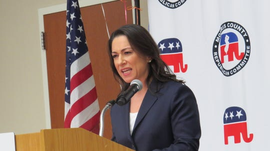 Aura Dunn, a former district director for Rep. Rodney Frelinghuysen, was elected to temporarily fill the seat of former Assemblyman, now Sen. Anthony M. Bucco, during a District 25 Republican convention at the County College of Morris in Randolph. Nov. 21, 2019.