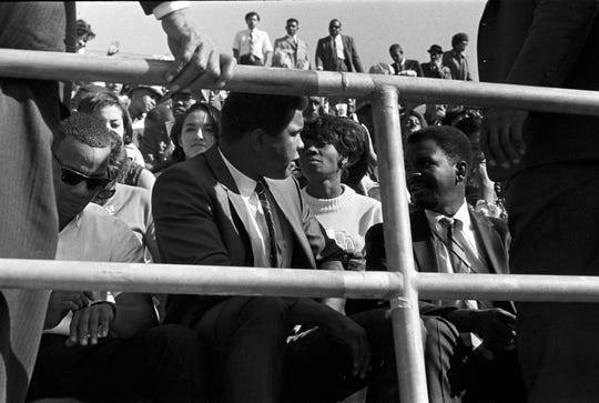 Muhammad Ali visits Montgomery and attends the Turkey Day Classic on Thanksgiving during his college tour between fights in 1966.