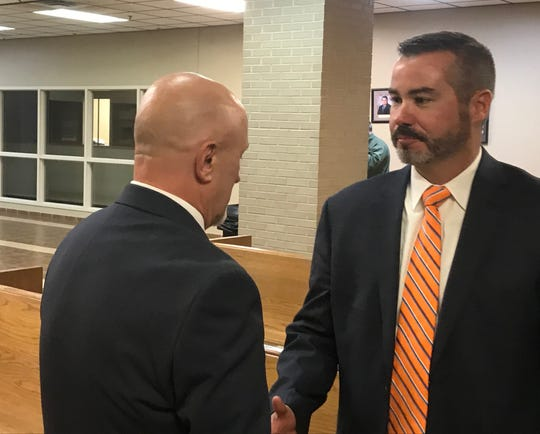 Attorney Tony Maynard with Joseph Leroy Durham Friday, Nov. 22, 2019. Durham was found not guilty after a 40-count indictment for sex crimes involving minors.