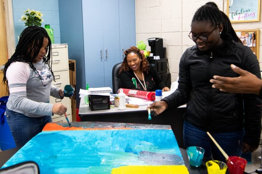 Felicia Reed-Kidd watches over her sixth grade class's hands-on ecosystem project  at Joelton Middle School on Nov. 22, 2019.