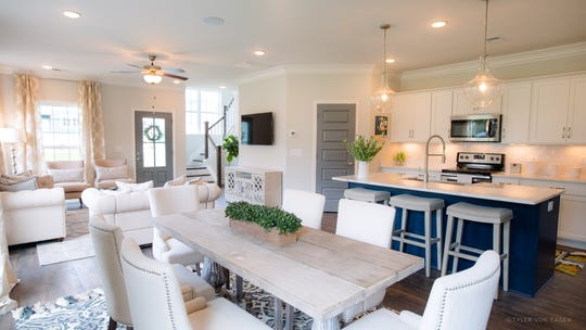 Parkside Builders' townhomes have open living areas. This townhome is in Waterford Village. Those in Oxford Station will be similar.