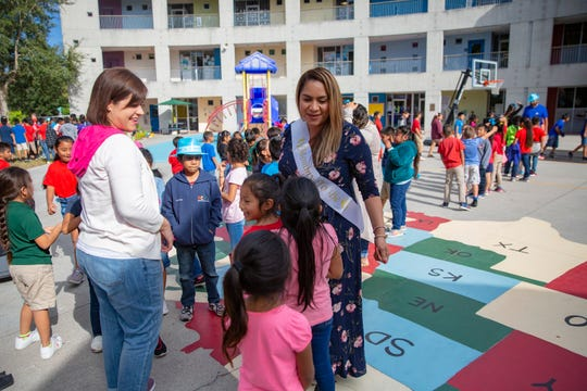 Immokalee Community School Principal Zulaika Quintero interacts with her staff and students Friday, Nov. 22, 2019, at Immokalee Community School.