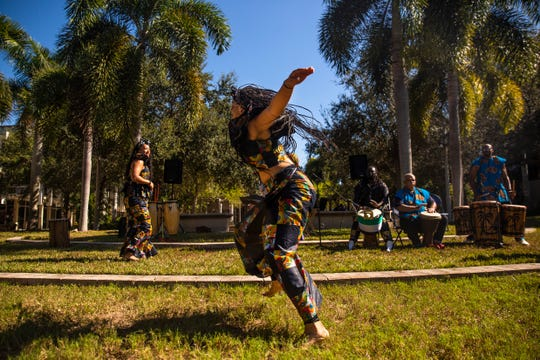 Aiyetora Olafemi from Kuumba Dancers & Drummers dances during the International Education Week on Thursday, November 21, 2019, at Florida SouthWestern State College in Fort Myers.