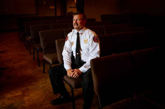 Estero Fire Department Chaplin Mark Goodman, poses for a portrait, Tuesday, Nov. 19, 2019, at Christ Community Ministries in Estero.