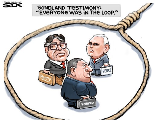 "Perry, Pence and Pompeo ""in the loop."""